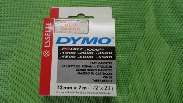 NASTRO DYMO D1 12MMx7M ROSSO SU CHIARO/TRASPARENTE COD 45012 OFFERTA!!!