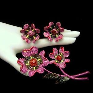 ART-Vintage-Brooch-Pin-Earrings-Set-Beautiful-Purple-Red-Enamel-Flowers