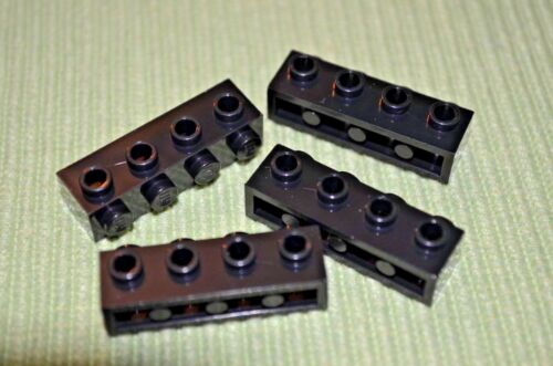 Black 1x4 w// 4 Pegs on one side ~ Lego ~ NEW ~ 4