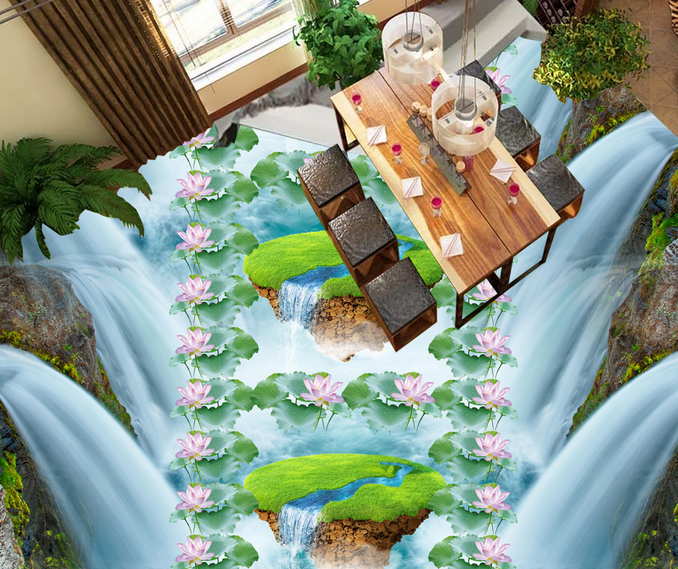 3D Lawn Lotus River 9 Floor WallPaper Murals Wall Print 5D AJ WALLPAPER UK Lemon