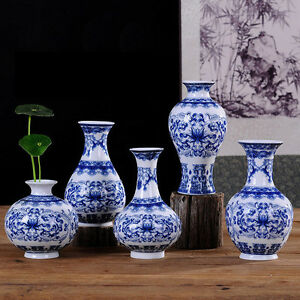 Image Is Loading Vintage Chinese Ceramic Porcelain Vase Home Decor Blue