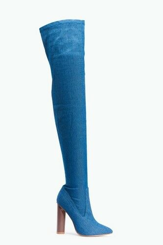 Truffle Collection Denim Over The Knee Thigh High Boots - UK Sizes 3 - 6