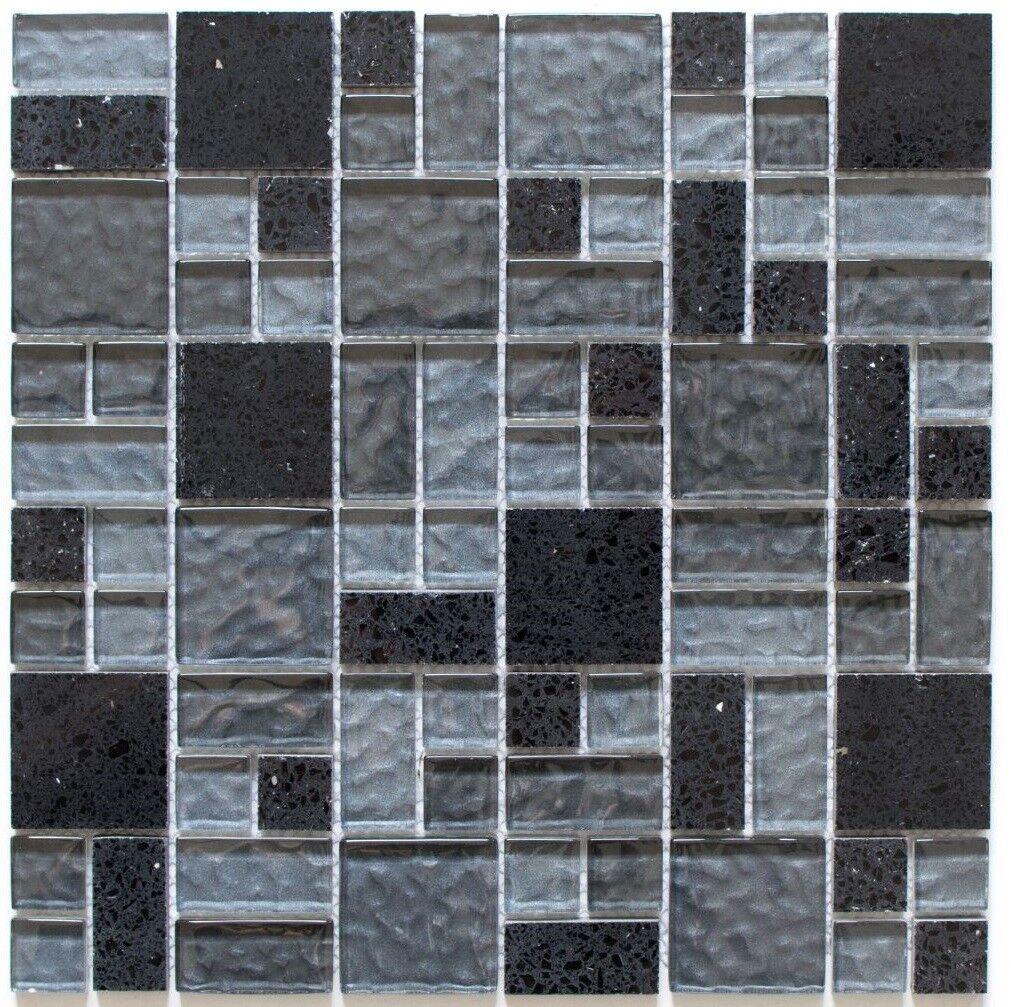 Mosaïque carreau composite composite composite combinaison cristal verre noir 88-K989_f | 10 plaques 61a91d