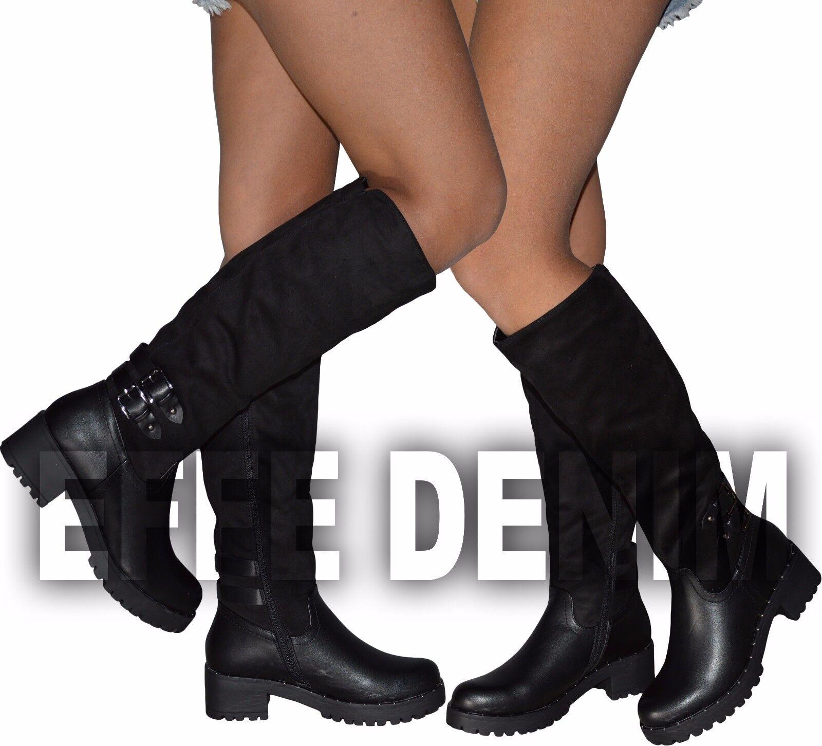 Stivali Donna Ecopelle   Stivaletti scamosciati boots pelle plateau 5605