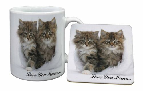 'Love You Mum' Mothers Day Cats Mug+Coaster ChristmasBirthday Gift, AC189LYMMC