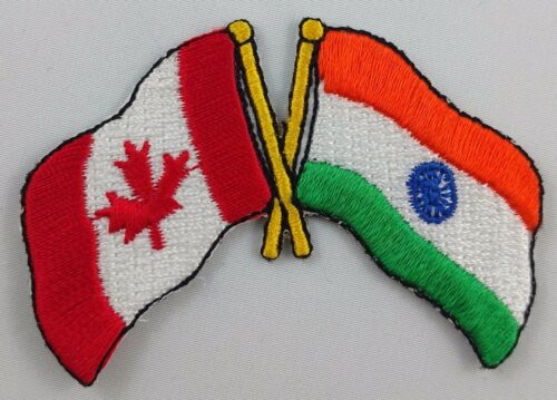 Canada India Flag Patch Embroidered Iron On Applique Canadian Indian