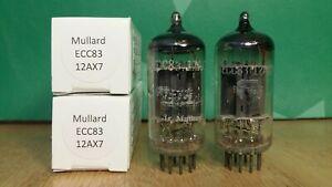 Pair-of-Mullard-ECC83-12AX7-f92-1958-1959-Long-Plate-Vacuum-Tubes-8-matched