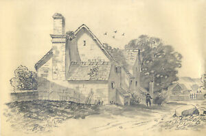 19th Century Graphite Drawing - Man and Dog Outside House