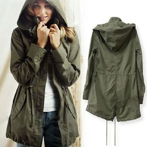 NEW Womens Hoodie Drawstring Army Green Military Trench Parka