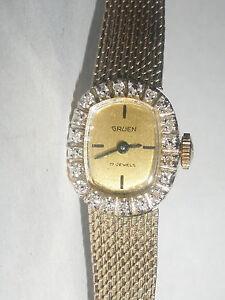 vintage gruen ladies watch with diamonds