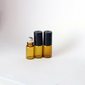 10x-Amber-SMALL-3ML-EMPTY-PERFUME-ROLL-ON-ROLLER-BALL-GLASS-BOTTLES-Brand-New