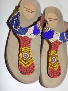 9e3135a94895 Image is loading Maliparmi-Infrabijoux-Beaded-Thong-Softbed-Sandals-39