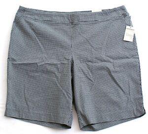 Dalia-Black-amp-White-Gingham-Check-Print-Stretch-Shorts-Women-039-s-Plus-Size-NWT