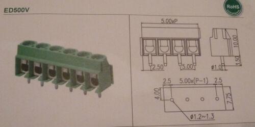 T8B 8 manière 5mm PCB terminal block Dinkle ed500v-05p-bk