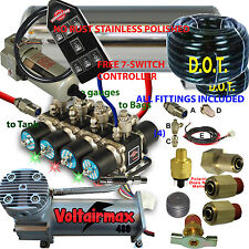 "1/2""AirValve Manifold 250psi DC480 7-Switch AirRide Suspension kit,Airhose Filtr"