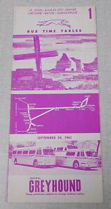 Details about 1961 Central Greyhound bus time table St Louis Kansas City  Denver Albuquerque
