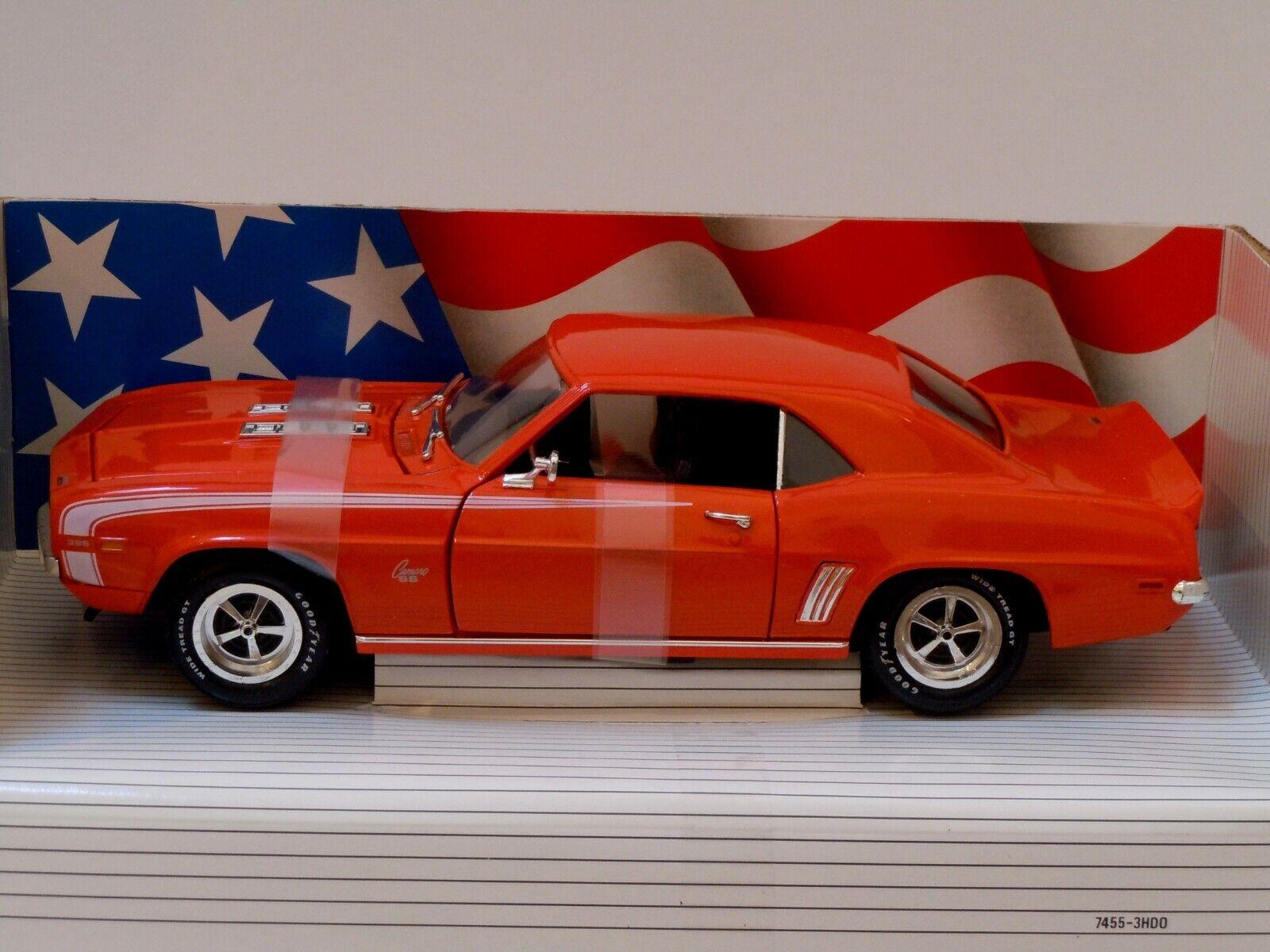 1969 Chevrolet Chevy Camaro Ss 396 Naranja Ertl Diecast Escala 1 18 Nuevo