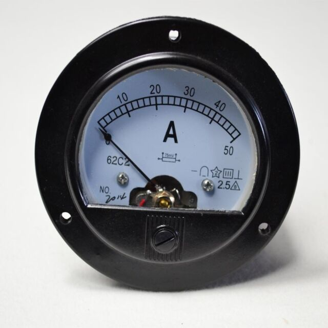 UPDATED ROUND ANALOG AMP PANEL MRTER CURRENT AMMETER DC 0-50A + SHUNT