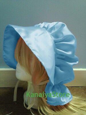 Himmelblau Costume Satin Beanie Sissy Hat Cap Victorian Edwardian Handarbeit