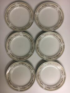 Kentfield-amp-Sawyer-Coupe-Fine-Porcelain-Floral-Trim-Bread-Plates-Set-of-Six-6-034-D