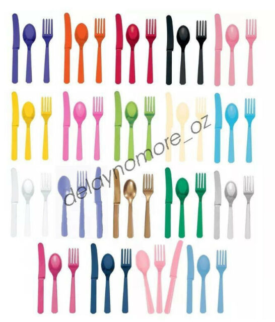 24pcs Coloured Colour Plastic Cutlery Knives Forks Spoons Birthday Party Utensil