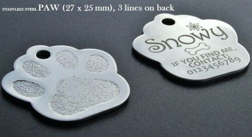 Stainless Steel PAW ID Tag INCLUDING Personalised Engraving for Dog Cat Pets