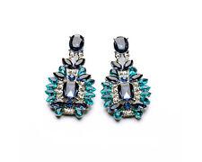 Glitz Fashion Stud Earrings Elegant Shiny Resin Stone Blue Crystal Drop Earrings