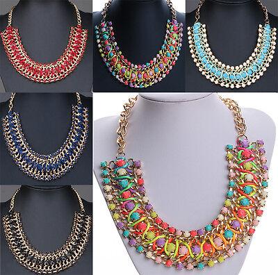 Fashion Crystal Statement Bib Pendant Collar Choker Necklace Chain Chic Jewelry
