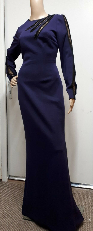 Alberto Makali New York Designer Purple Evening Mermaid Dress With Detail