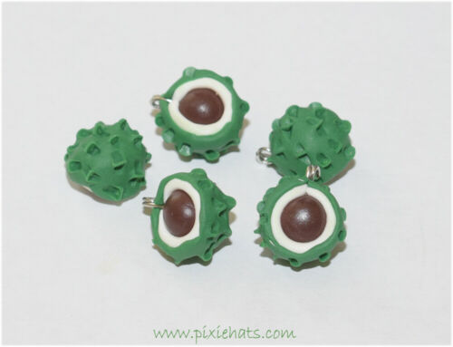 Conker charms autumn beads chestnut tree leaf beads handmade polymer clay