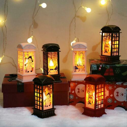 Christmas LED Light Up Lantern Xmas Santa Claus Table Lamp Ornament Decor