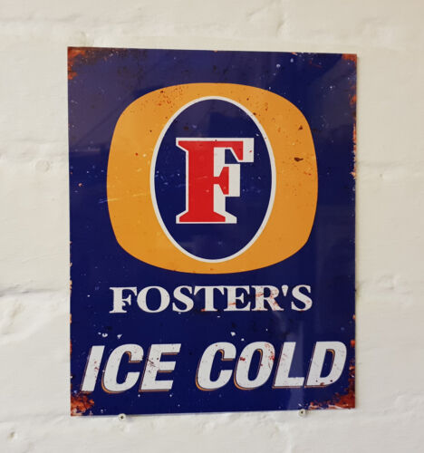 FOSTERS LARGER RETRO METAL BEER SIGN Man Cave 2 Sizes Available ideal for pub