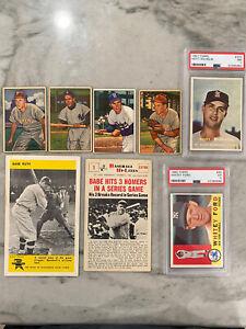 Vintage-Baseball-Card-Lot-Babe-Ruth-Rizzuto-Reese-Ashburn-Roberts-Ford-HOF-PSA