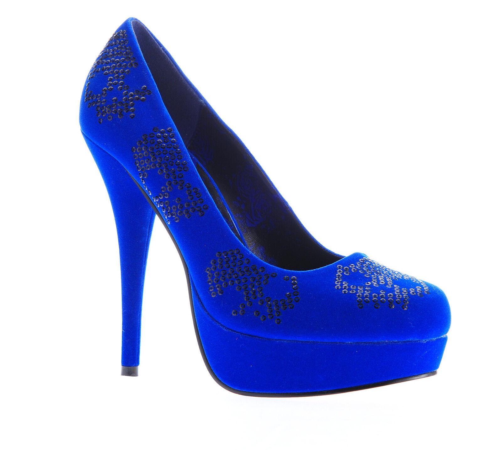 IRON FIST Schuhe Pumps Sugar Hiccup Girls Blau Größe Pailletten - Größe Blau wählbar 0cfe68