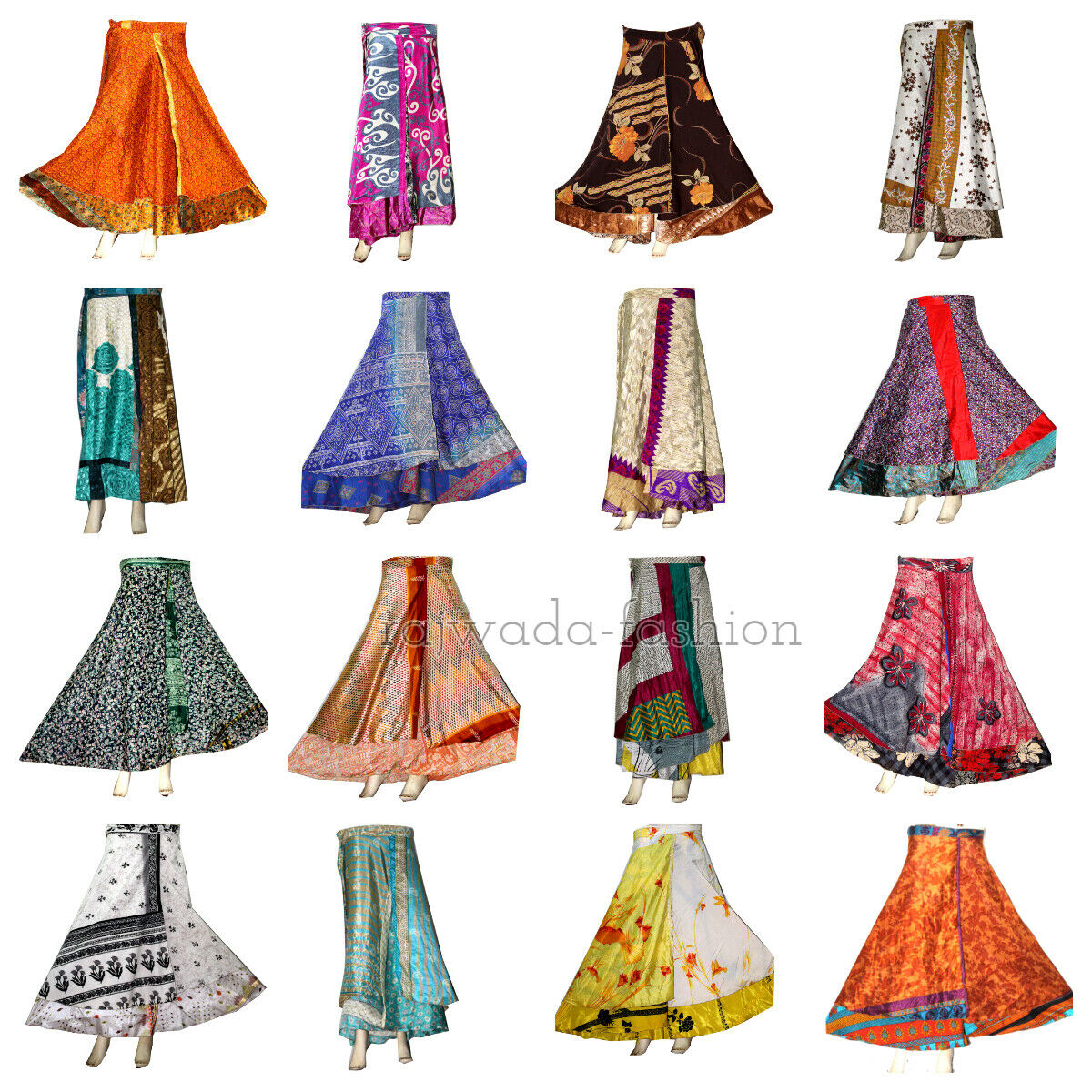 Indian Ethnic Floral Printed Wrap Around Long Rapron Women  50 Pcs Silk Skirt