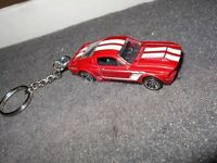 1967 Shelby Gt500 Gt-500 Mustang Diecast Model Car Keychain Keyring Red W White