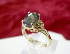 SOLID 14K YELLOW GOLD OVAL MYSTIC TOPAZ RING SIZE 6.5