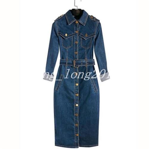 Chic Women Long Single Breasted Parka Overcoat Trench Denim Coat Jacket Outwear