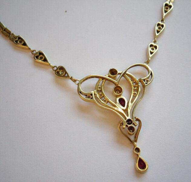 VINTAGE 18ct 18k oro Ruby Diamond lavaliere Stile Collana Collana Collana e59000