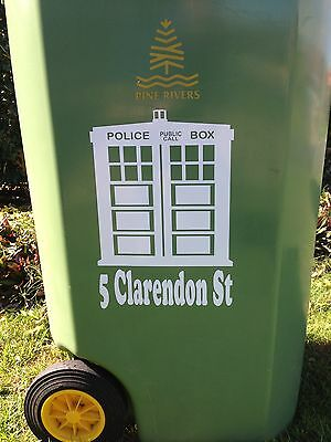 Wheelie bin sticker decal X 2 –Tardis Dr Who, St address