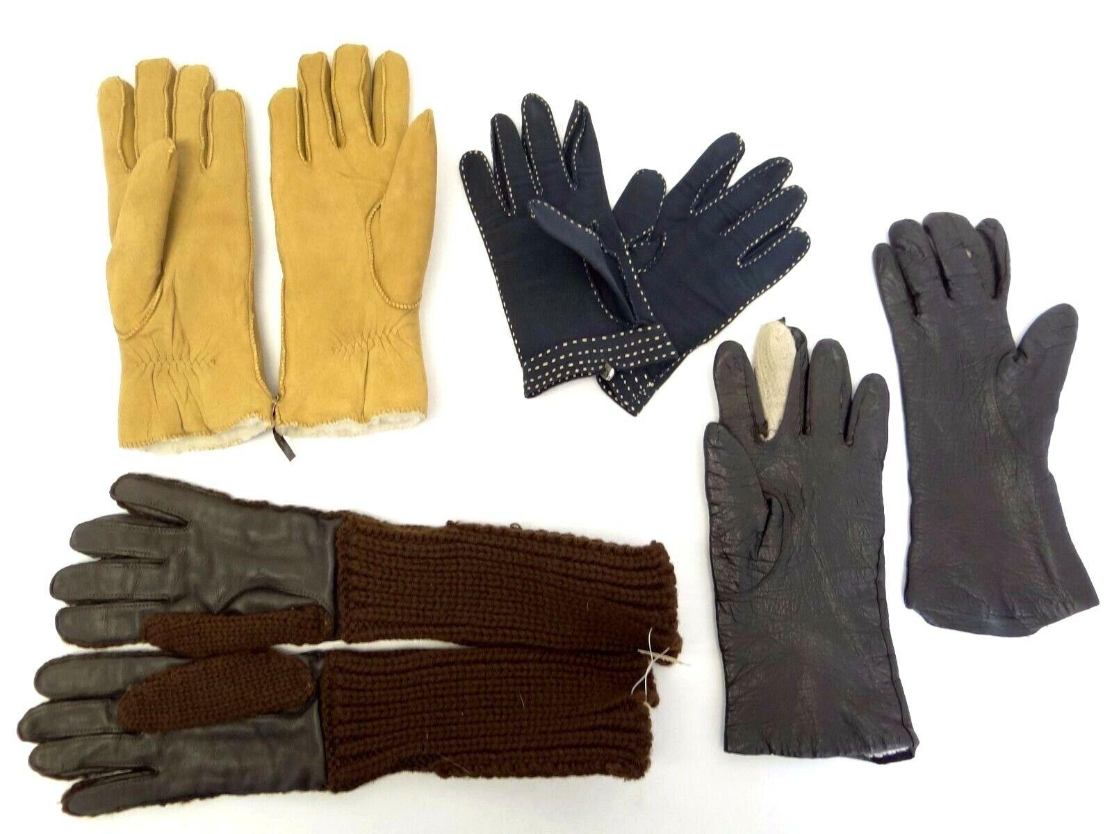 Mixed Lot Ladies Wool Leather Bloomingdales Italy Suede Ladies Gloves