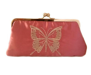 New-Chic-Women-039-s-Vintage-Embroidered-Butterfly-Clutch-Bag-Rose-Pink-25x13x5cm