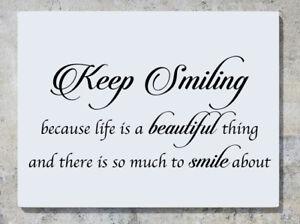 Keep-Smiling-Weil-Leben-ist-eine-schoene-Sache-Wand-Abziehbilder-KUNST-Aufkleber