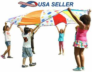 10ft Kids Rainbow Parachute Indoor/Outdoor Game Teamwork Sport Activity w Handle