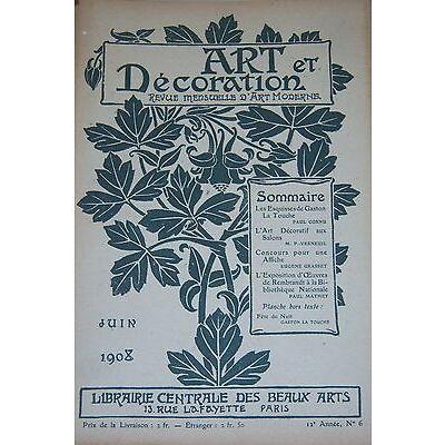 ART et DECORATION ART NOUVEAU 1908 LA TOUCHE ART DECO CONCOUR AFFICHE REMBRANDT