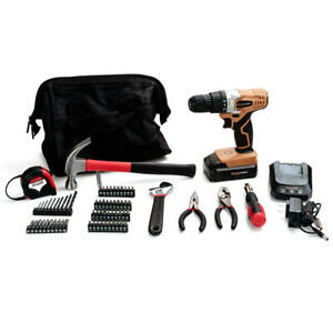 70PCS 20V Lithium Ion Compact Cordless Drill Tool Kits Home Project Repairment