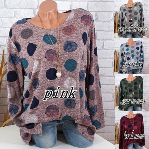 Plus S-5XL Women Long Sleeve Casual Polka Dot Printed T Shirt Pullover Tops New
