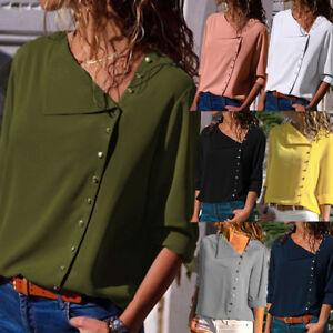 Moda-Donna-da-Manica-Lunga-Larga-Maglia-Camicia-Casual-Bavero-T-Shirt
