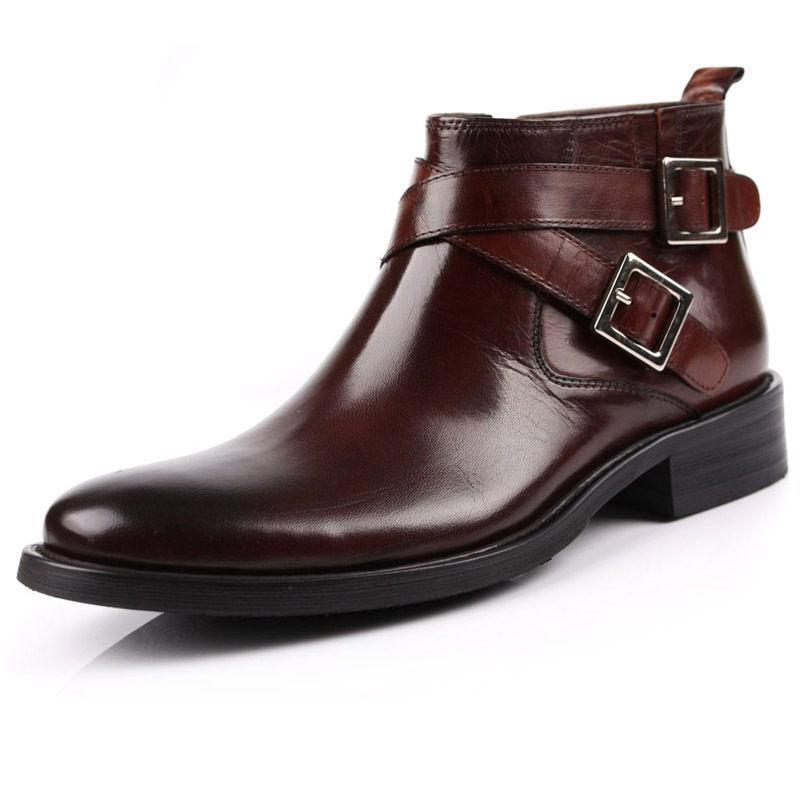 Para hombres Genuino Cuero Correa Hebilla botas al Tobillo Zapatos Formales Cremallera Lateral cena UK Talla