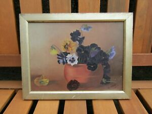 Antique-oil-painting-on-board-M-Wood-1902-floral-still-life